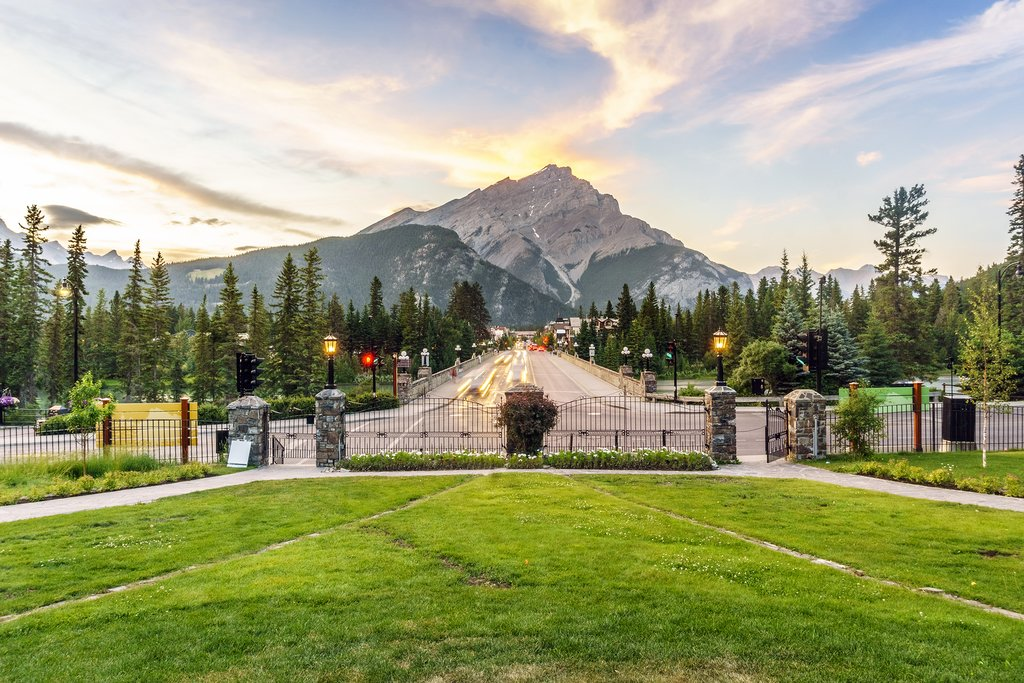 Cascade Mountain towers over Banff's Main Street