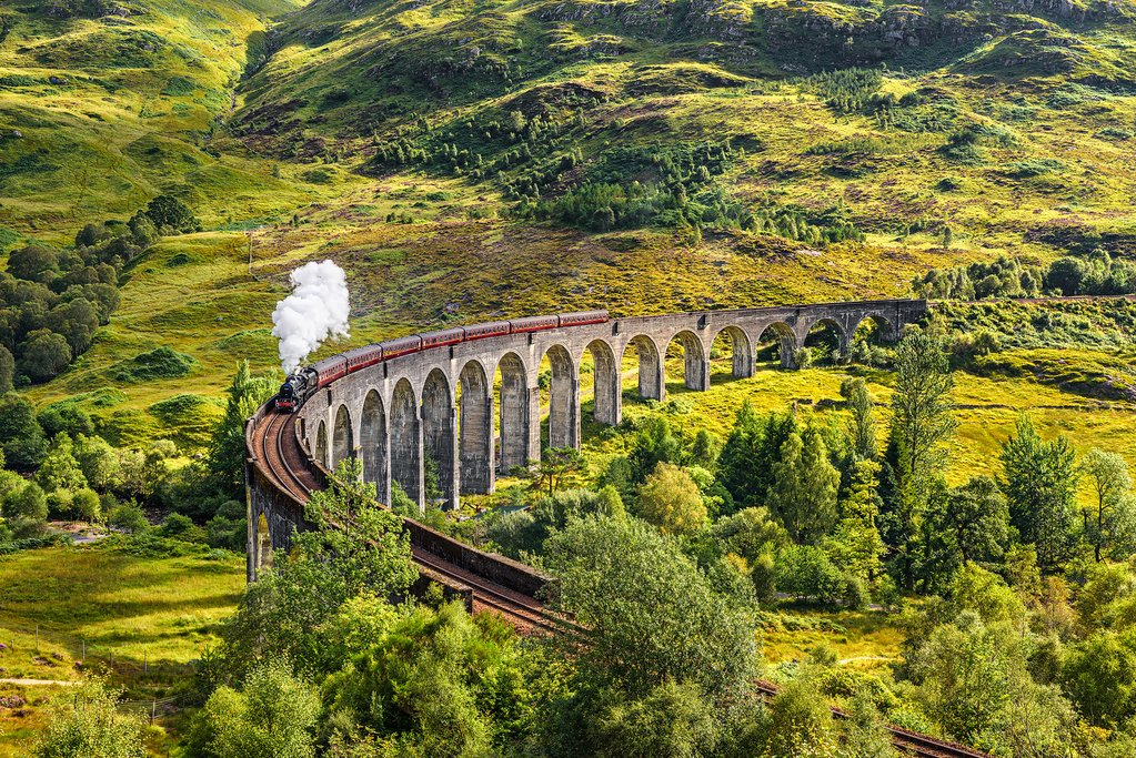 The Jacobite Express crossing the Glenfinnan Viaduct.