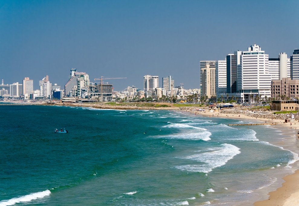 Tel Aviv skyline and beach