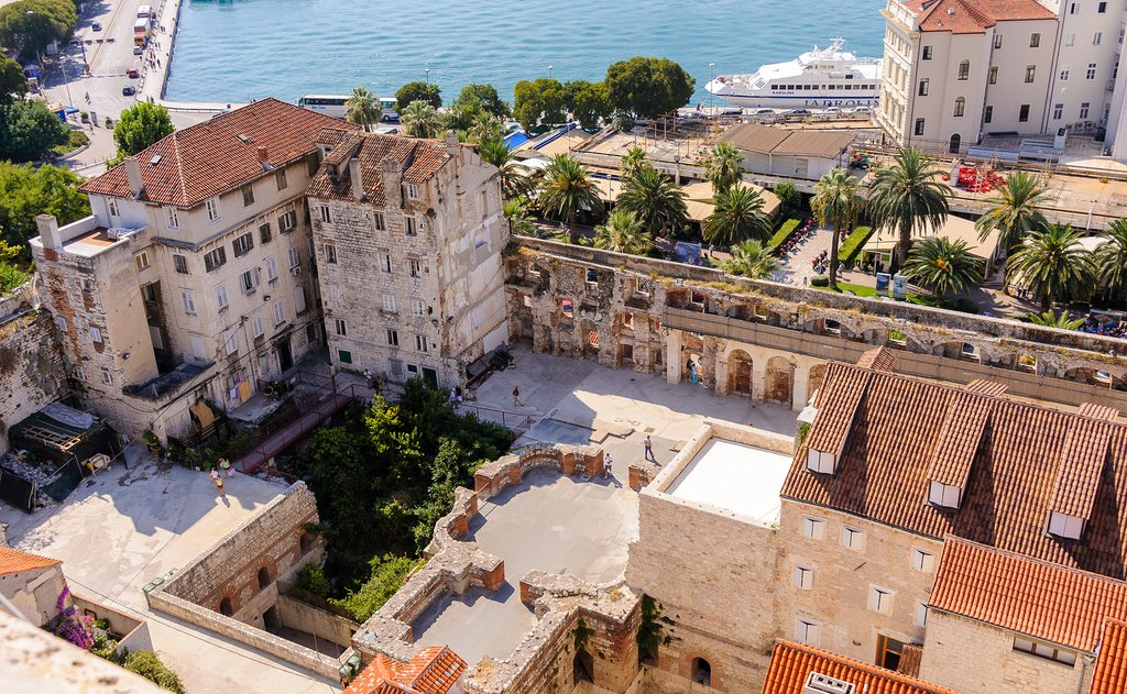 Croatia - Split - Aerial view of Diocletian's palace walls looking onto the Riva