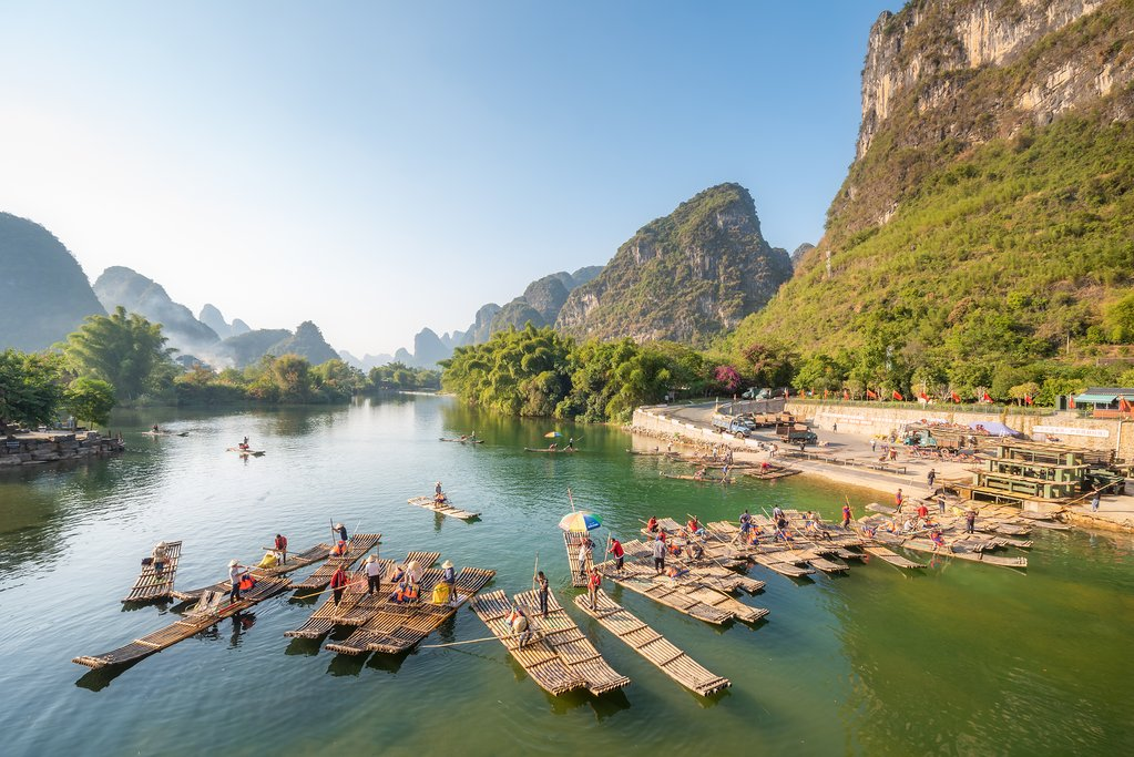Set sail on a bamboo raft in Yangshuo