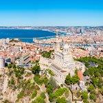 Aerial view of Marseille and the basilica Notre-Dame de la Garde