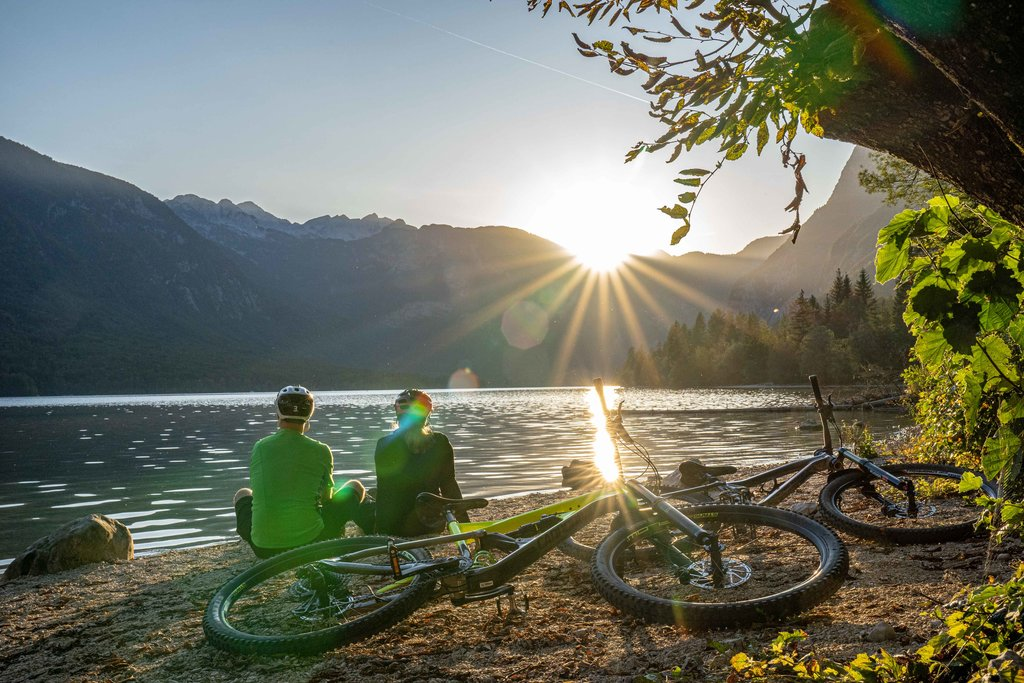A sunrise over Lake Bohinj.