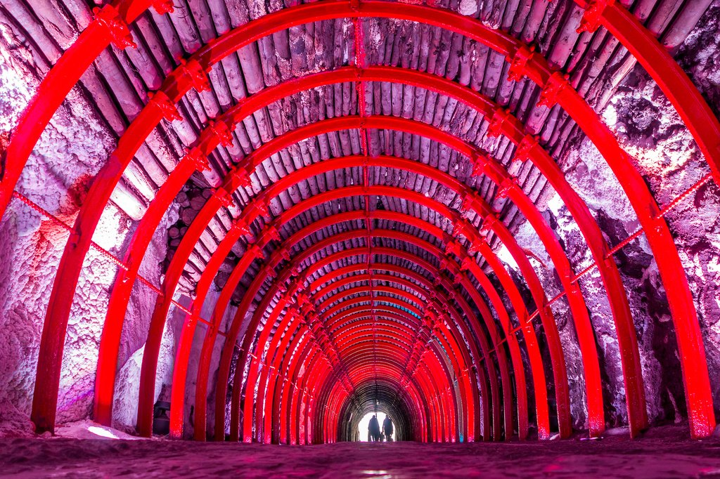 Multi-colored tunnel at the Salt Cathedral