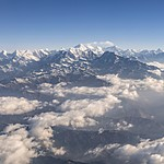 Mt. Everest, Lhotse, and Nuptse from above