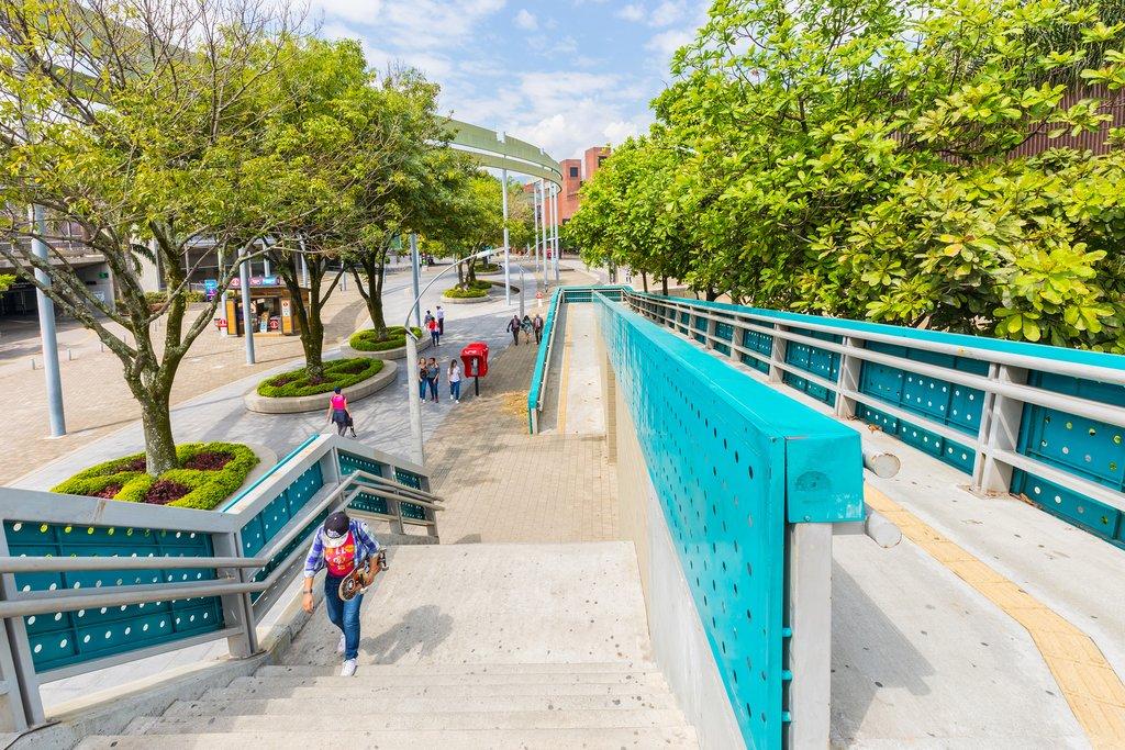 Pedestrian walkway outside of Medellín's metro