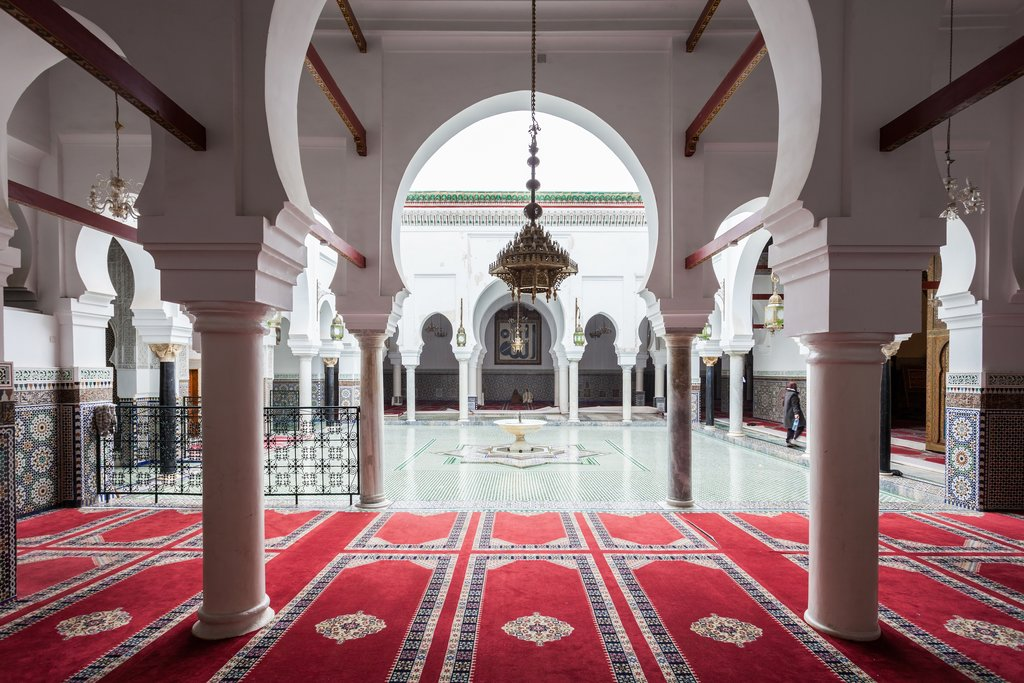 Interior of Al Quaraouiyine (or al-Qarawiyyin) Mosque and university in Fes Morocco.