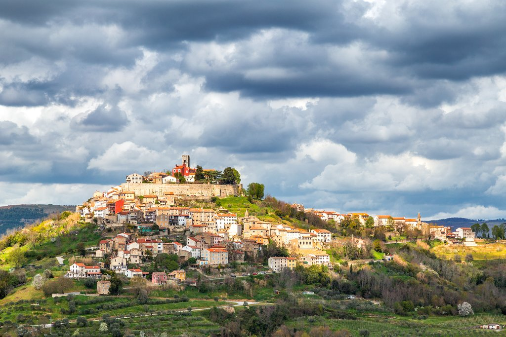 Croatia - Hill town Motovun overlooks truffle-hiding forests in Istria