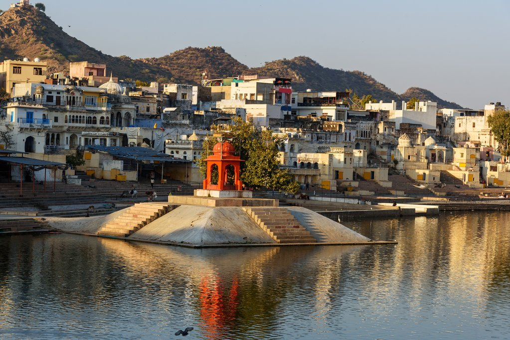 Ghats and temple of Pushkar