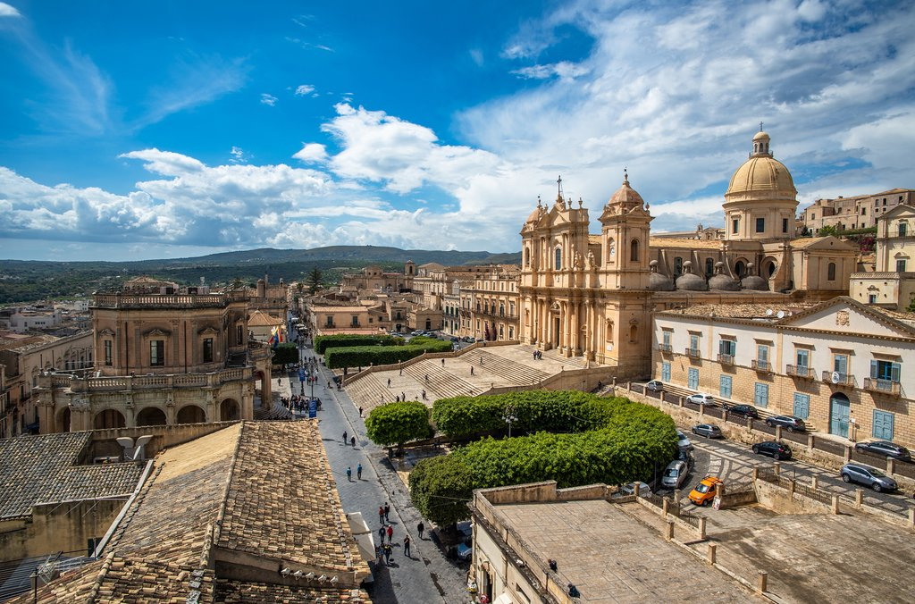 View over Noto and its cathedral
