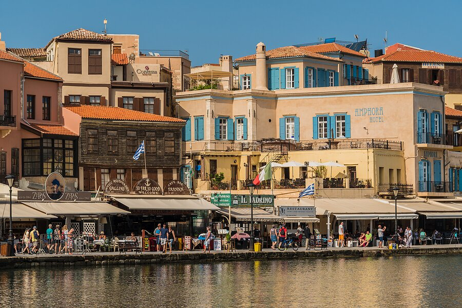 Waterfront dining in Chania, Crete