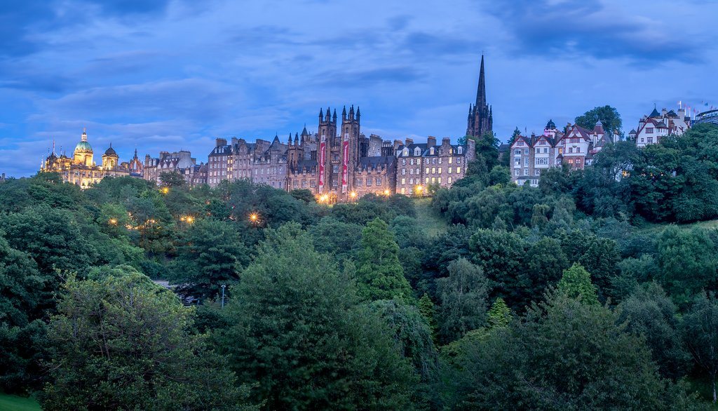 Views across the rooftops of Edinburgh's Old Town.