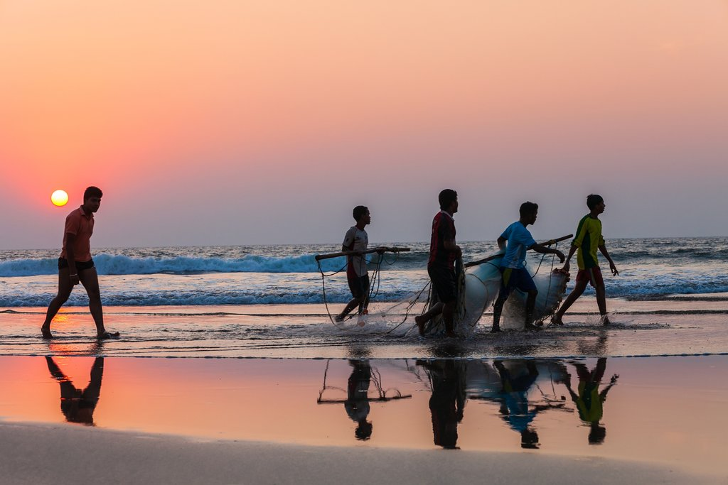 Fishermen coming back from the sea in Goa