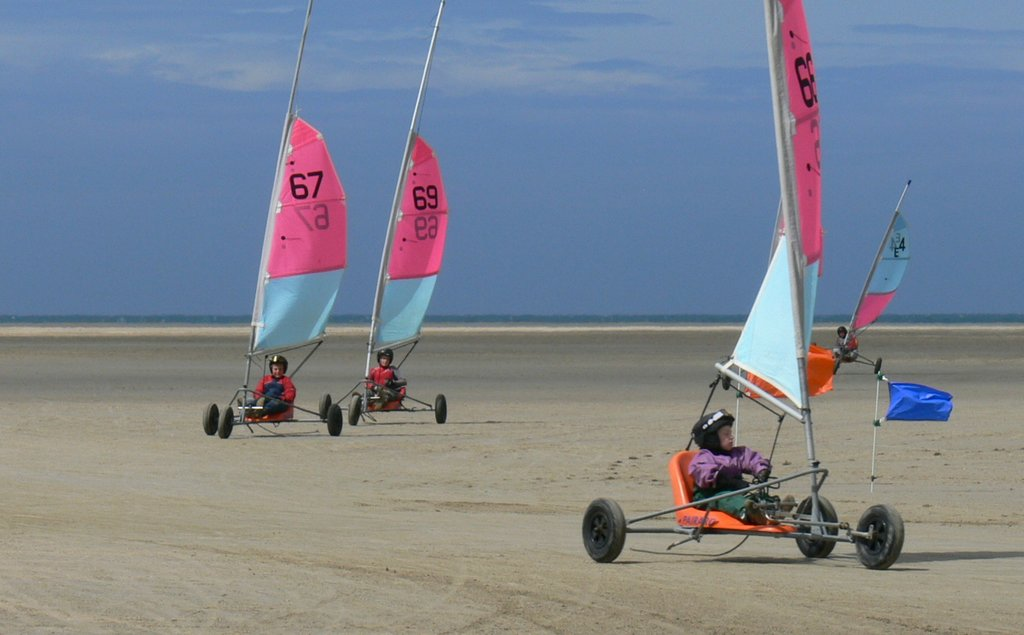 Sand yachting in the bay of Mount St Michel