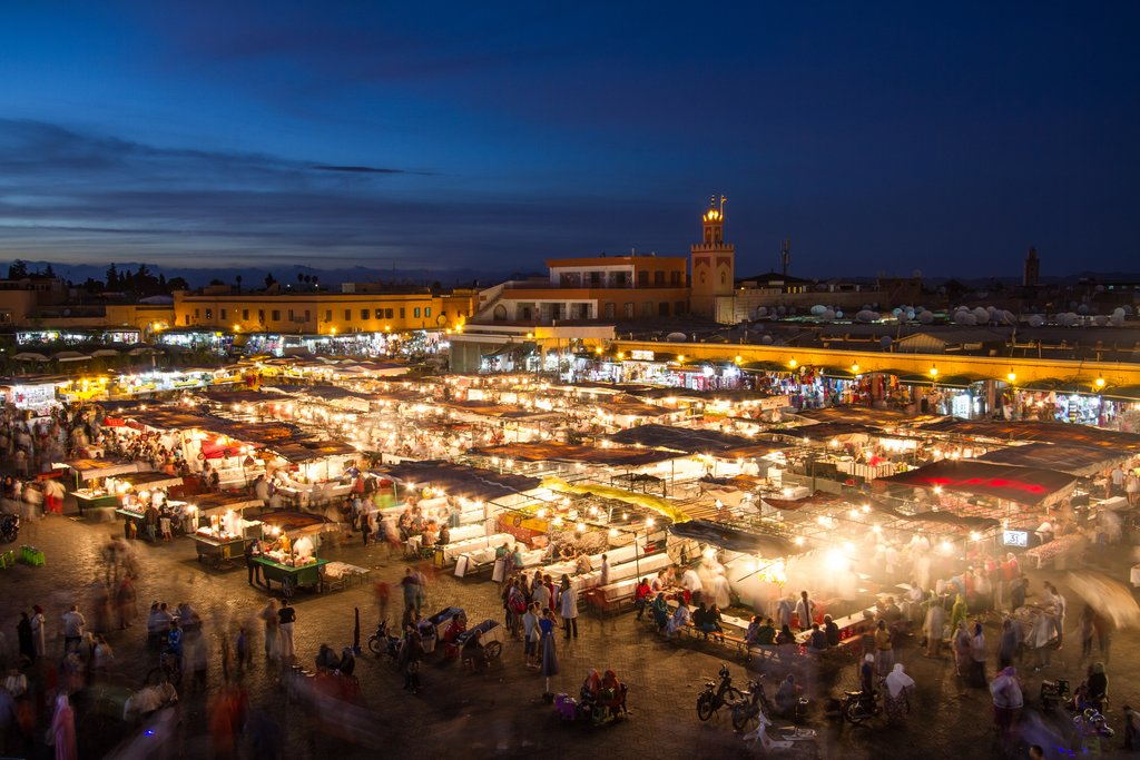 Jemaa el-Fna Square at night, Marrakech, Morocco
