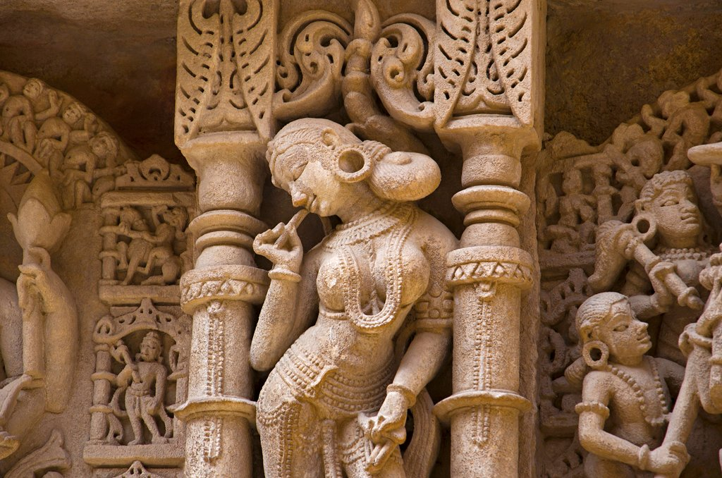 Carved idols on the inner wall and pillars of Rani ki vav,