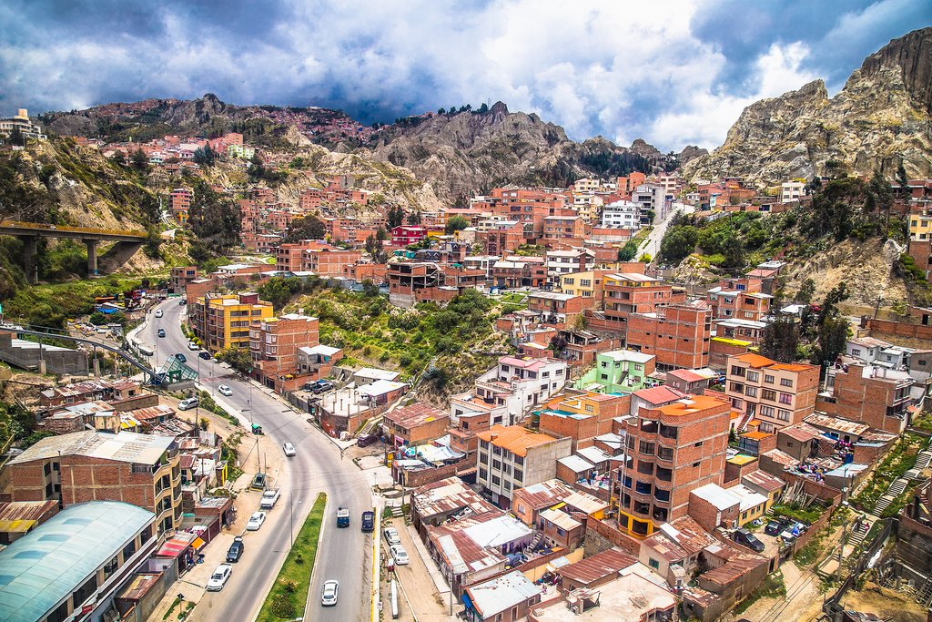 An aerial view of La Paz