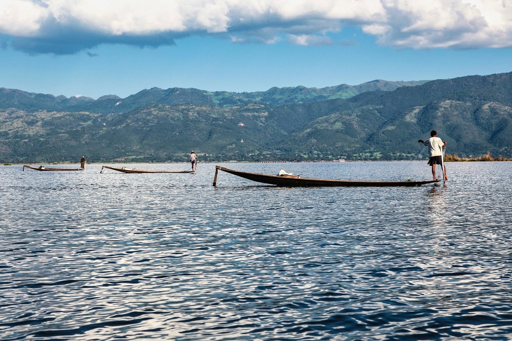 A traditional fishing boat on Inle Lake