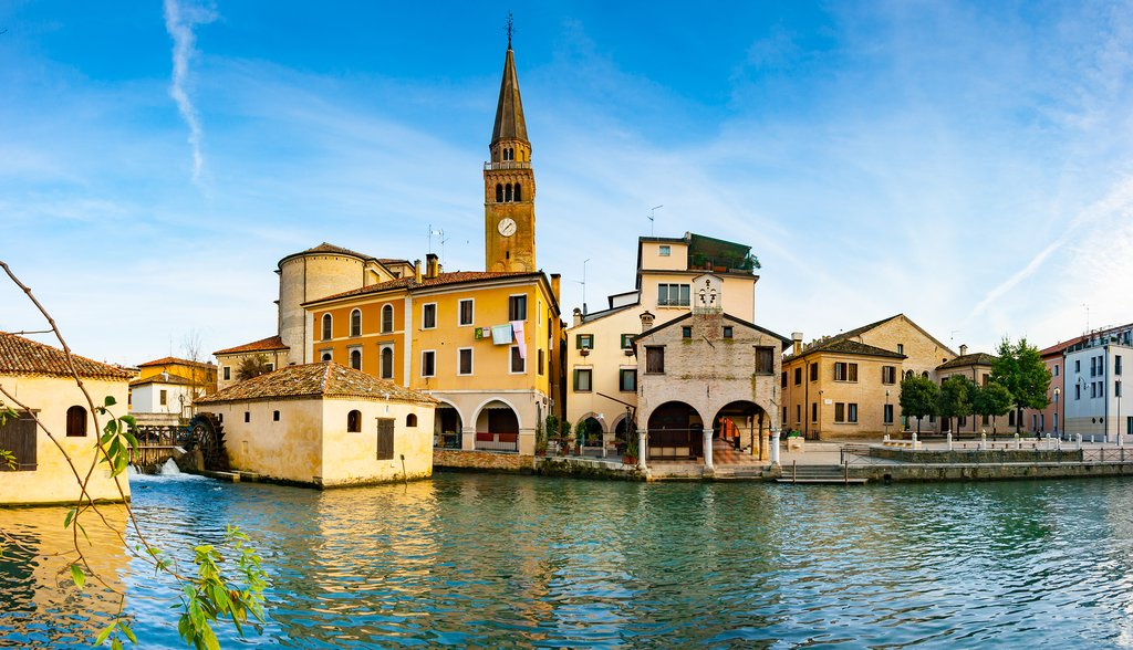 Italy - Veneto - Portugruaro on the Lemene river + St. Andrea cloce tower and Mills