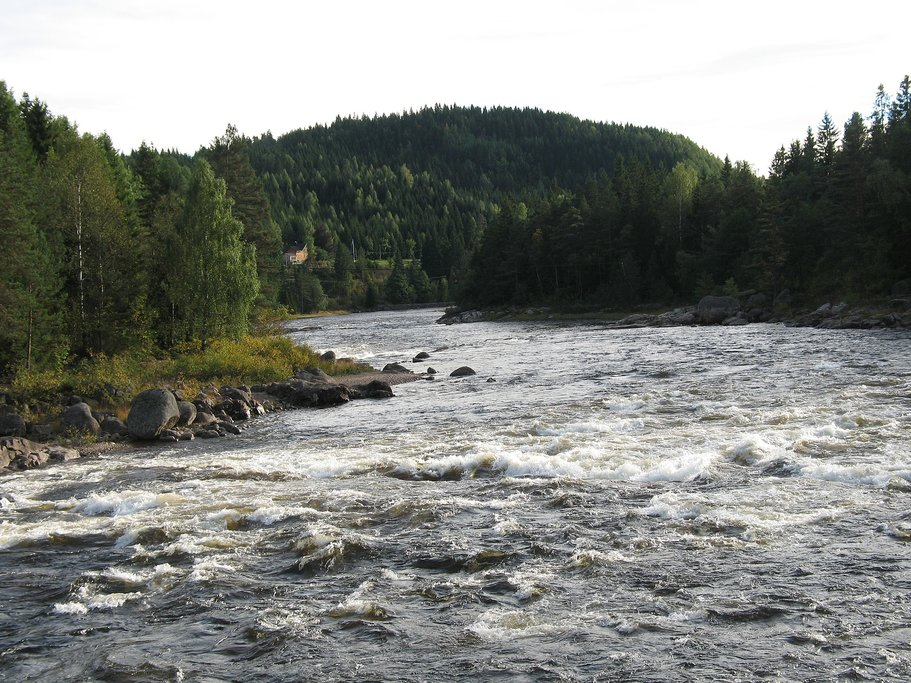 The fresh water of Tovdalselva River famous for salmon fishing