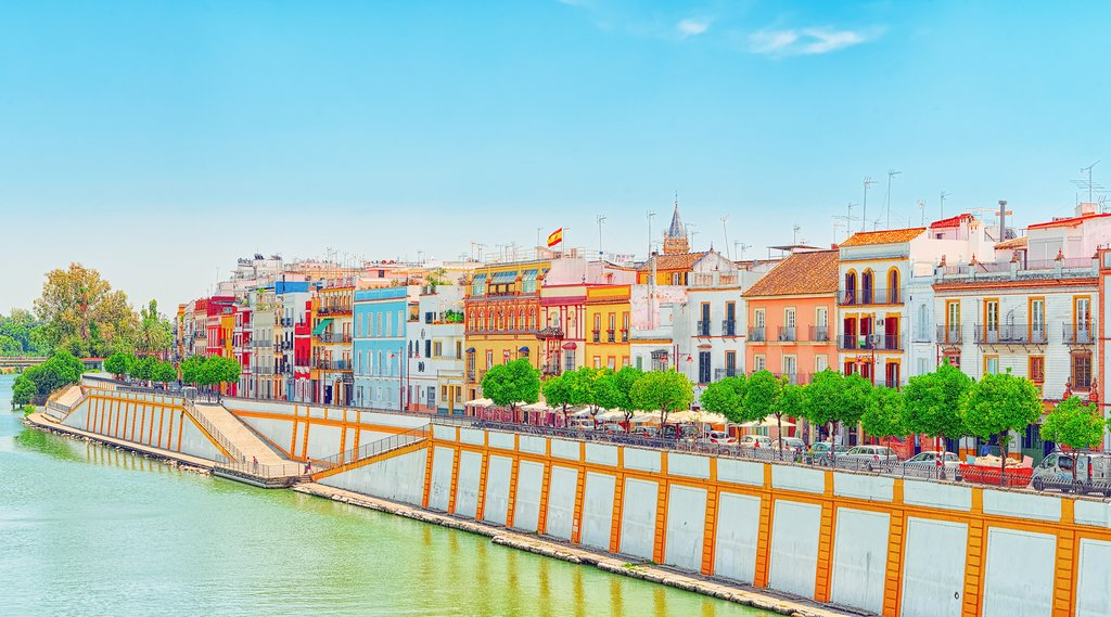 Colorful Triana across the river from Seville