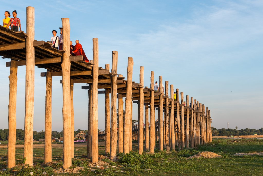 A view of U Bein Bridge in Mandalay, Myanmar