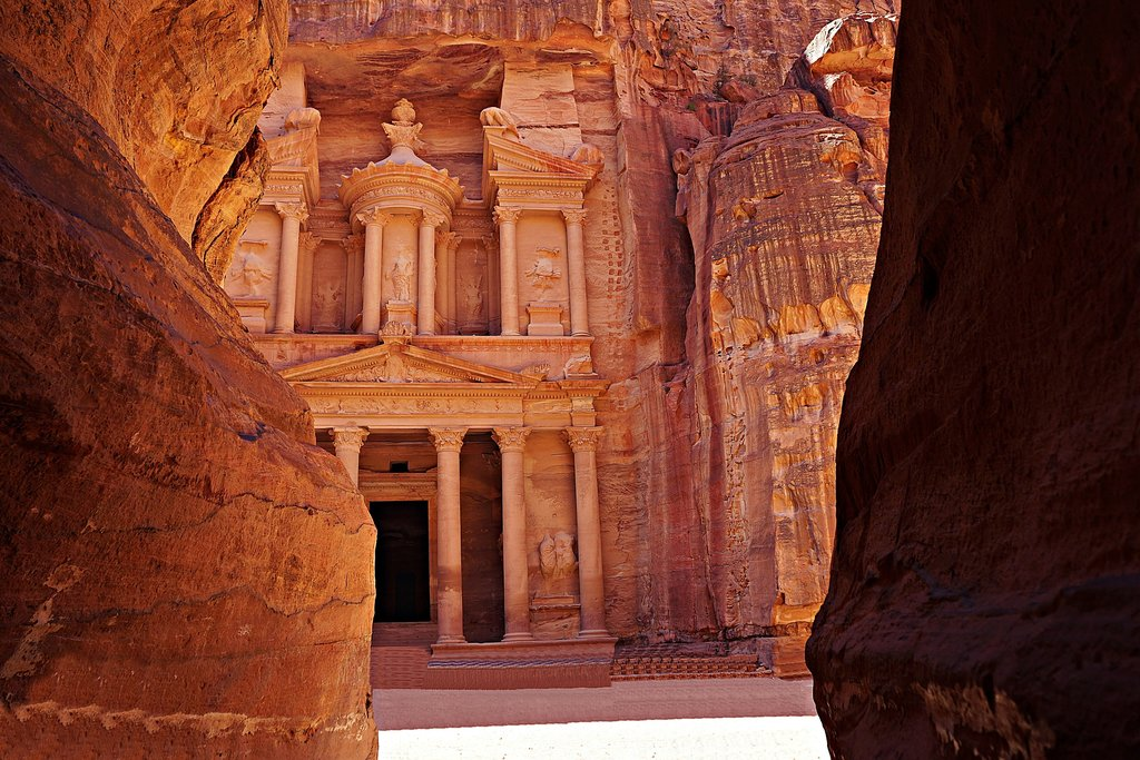 Jordan - Petra - Siq opening up to the Treasury