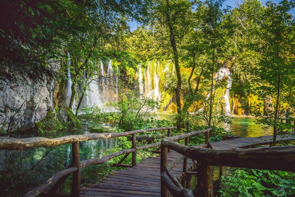 Boardwalk leading to waterfalls in Plitvice Lakes National Park
