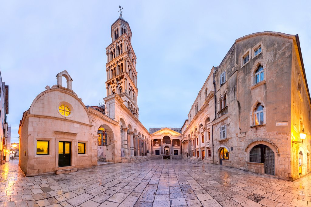 Croatia - An early morning look into the Peristyle of Diocletian's Palace with the Cathedral of St. Domnius in Old Town
