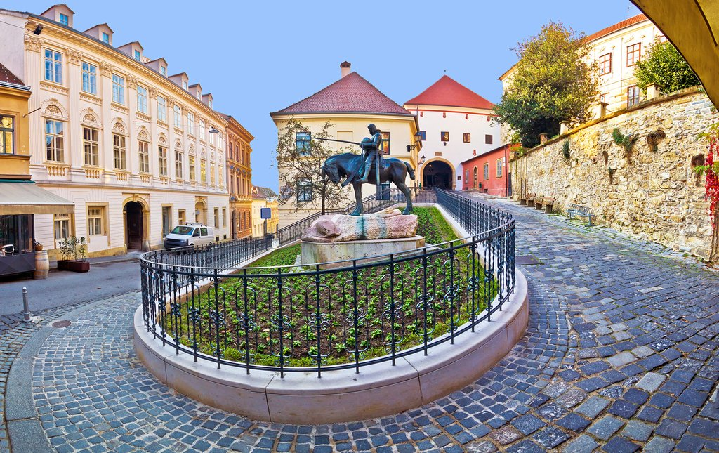 Historic Zagreb street and the Stone Gate or Kamenita Vrata