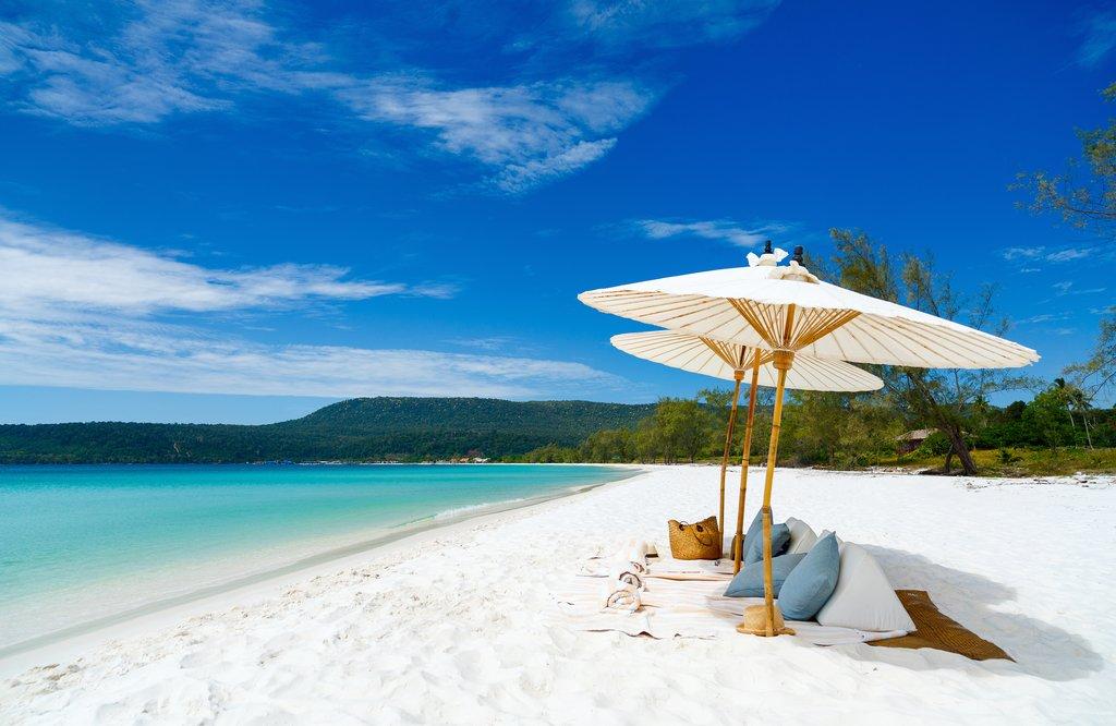 Relax on the beautiful Soksan Beach on Koh Rong Island
