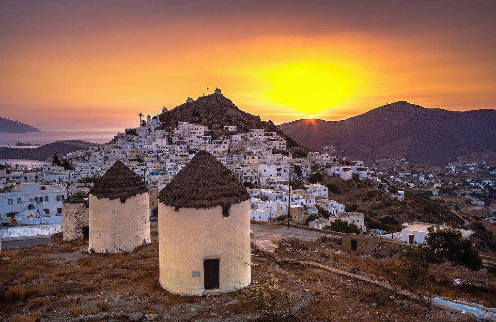 Amazing sunset on the island of Ios