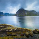 Kayaking near the village of Reine, Lofoten Islands