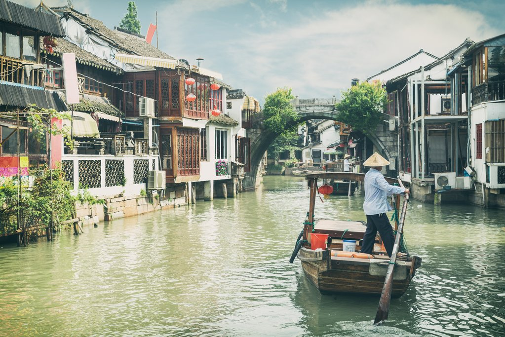 Traditional tourist boats on canals in Zhujiajiao