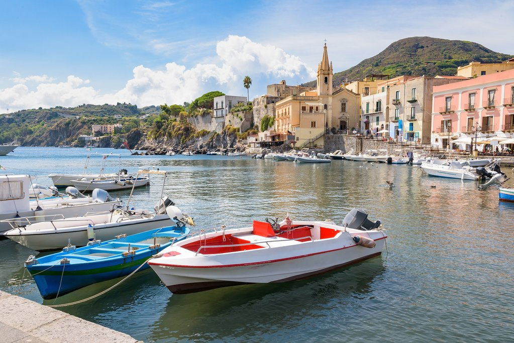 View of Marina Corta, Lipari, Italy