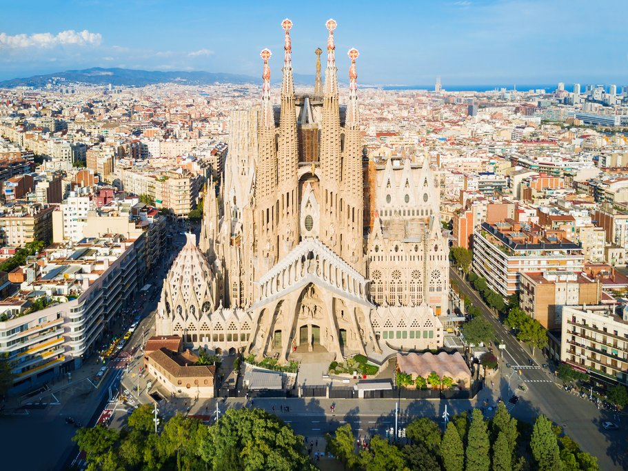 An aerial view of La Sagrada Familia, as you'll see on a helicopter tour