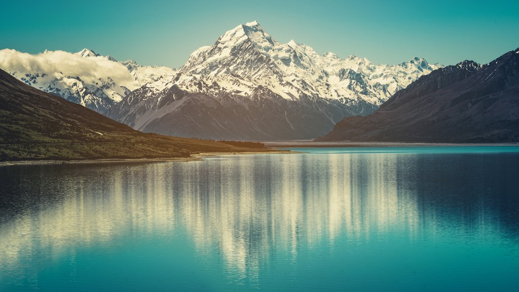 Mount Cook landscape reflection on Lake Pukaki