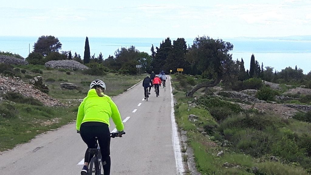 Cyclists ride across Hvar