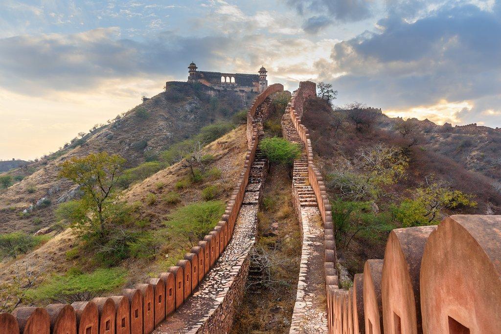 Ancient wall along Amber Fort