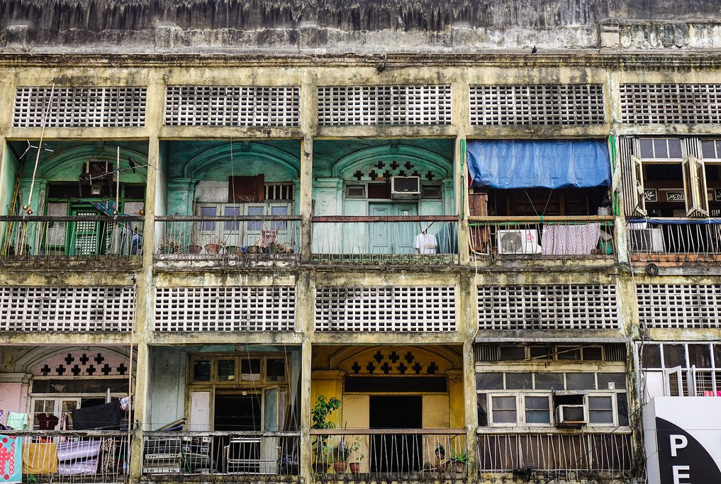 Colorful apartment buildings in Yangon