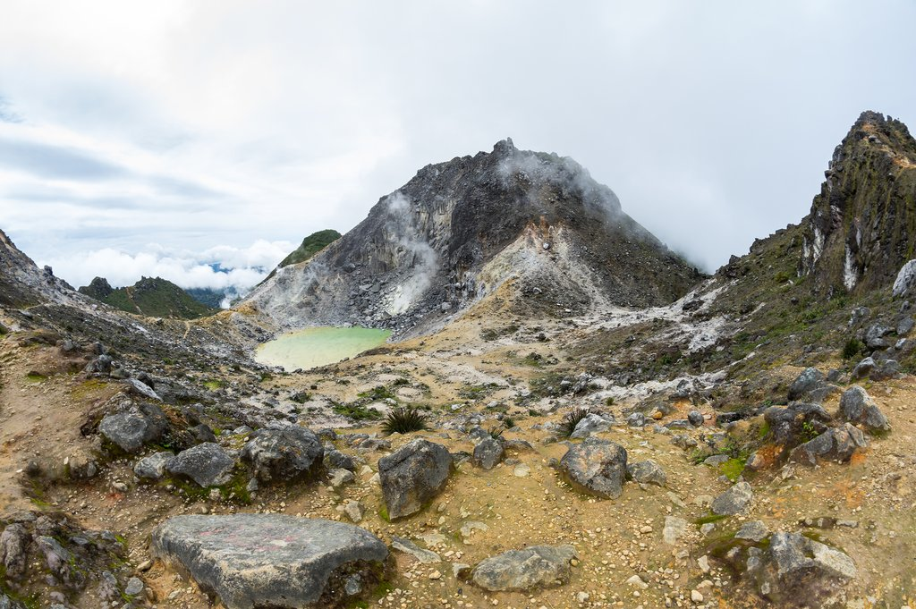 Climb to the top of Sibayak Volcano and see the crater lake