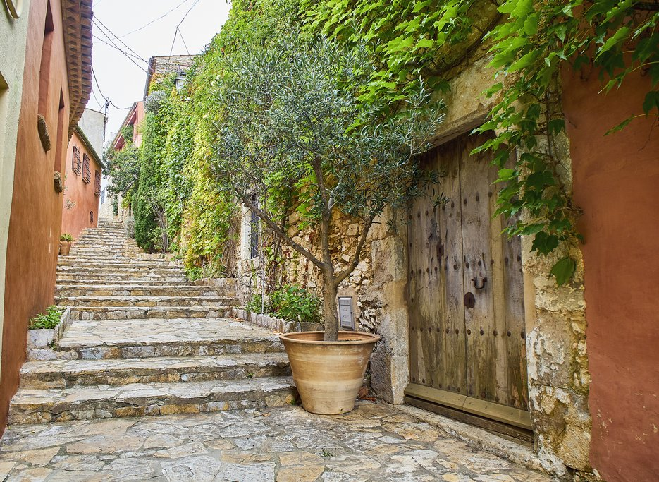 Carrer del Castell street in the Historical Center of Begur. Girona, Costa Brava