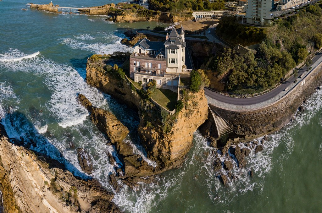 The Villa Beltza on the cliffs of the rocky coastline of Biarritz, French Basque Country