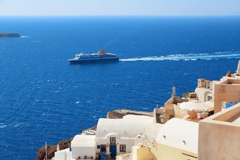 Ferry approaching Santorini