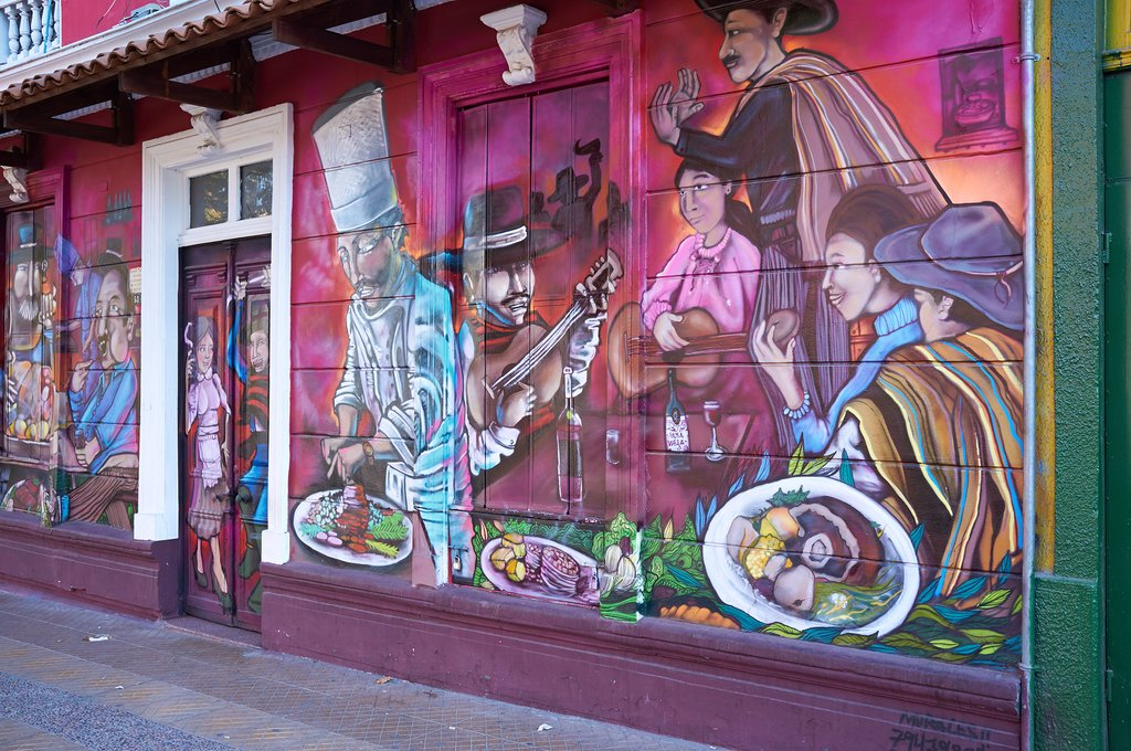 Colorful street art in Barrio Bellavista