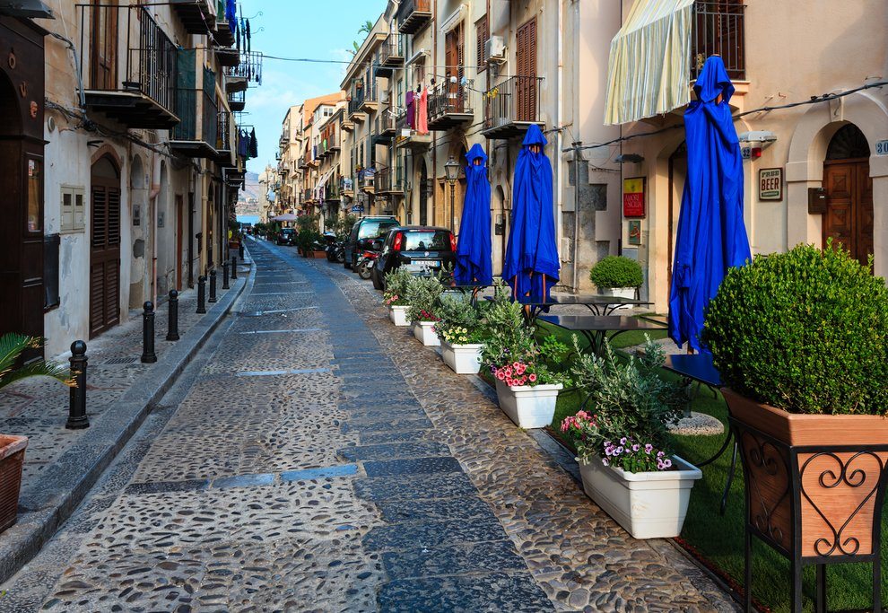 Italy - Sicily - Cefalù - Typical street in Cefalù