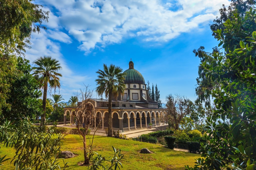 Catholic monastery and a small church on Mount Beatitudes