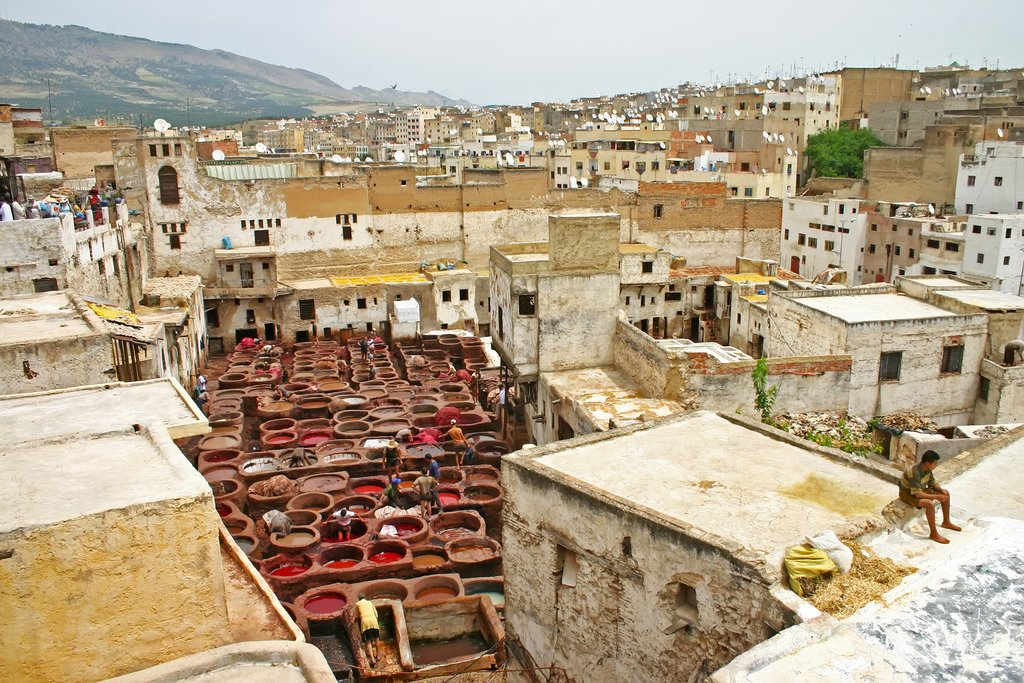 A view over the 11th century Chouara Tannery, Fes, Morocco