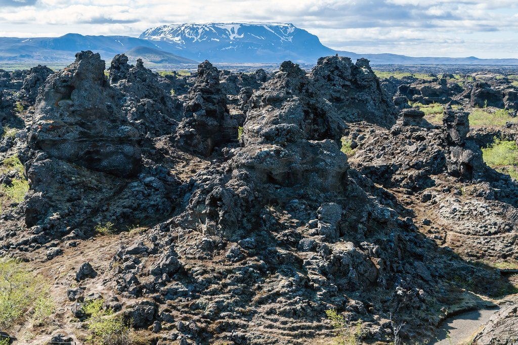 Hike the small loop around the Dimmuborgir lava formations