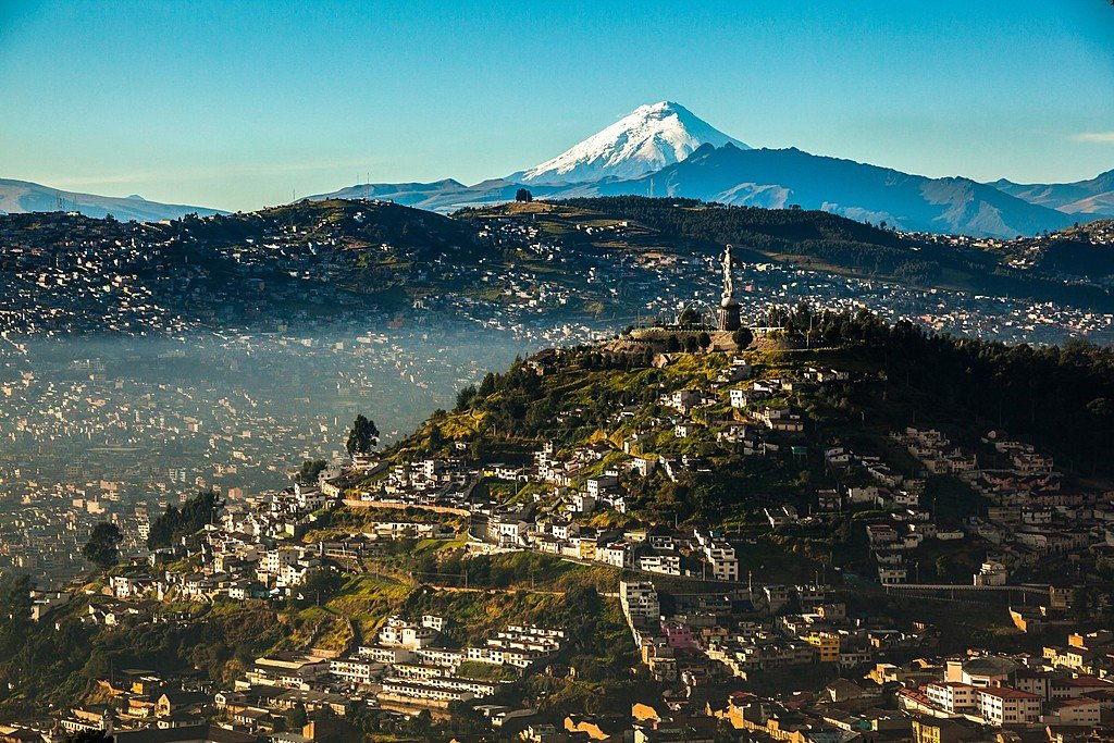 View of Quito and the Cotopaxi Volcano